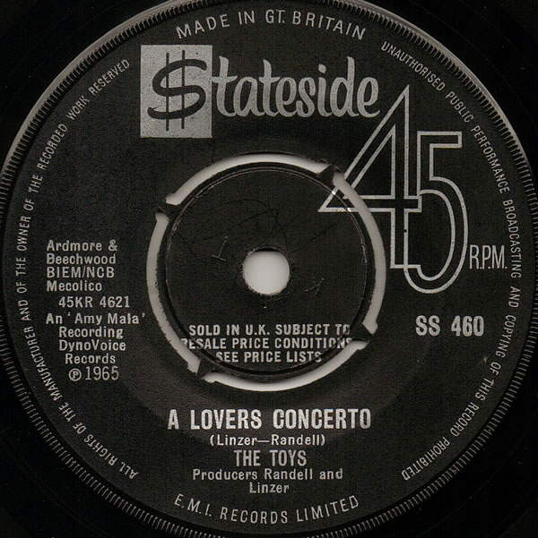 TOYS - A Lovers Concerto - 45T (SP 2 titres)