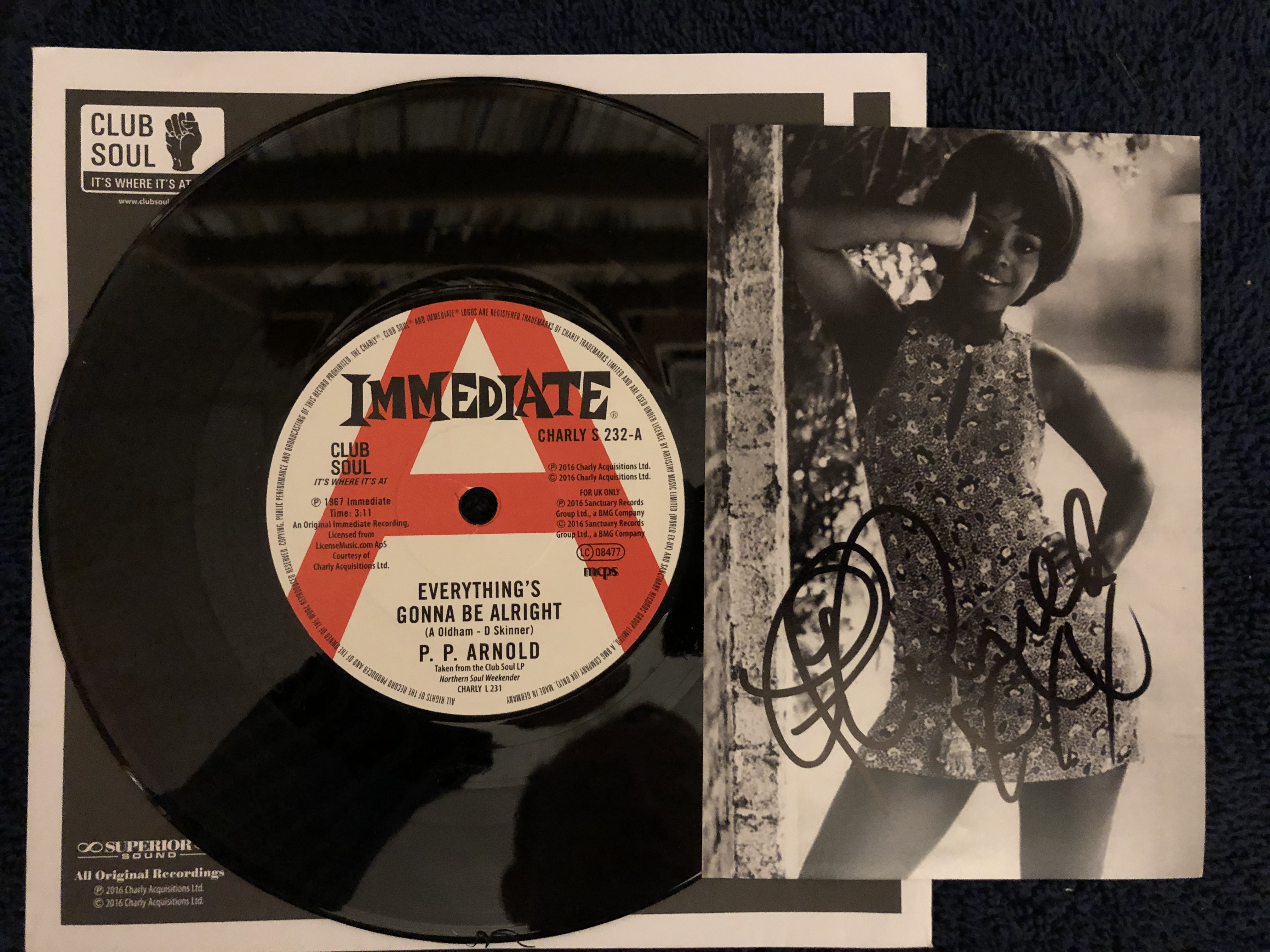 P.P. ARNOLD - Everything's Gonna Be Alright (SIGNED AUTOGRAPH WITH COA) - 45T (SP 2 titres)