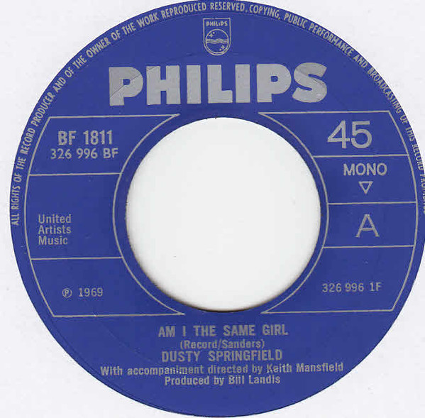 DUSTY SPRINGFIELD - Am I The Same Girl - 45T (SP 2 titres)