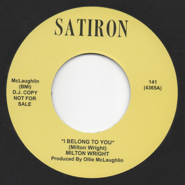 MILTON WRIGHT - I Belong To You - 45T (SP 2 titres)